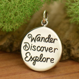 Sterling Silver Wander Discover Explore Quote Charm