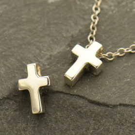 Sterling Silver Cross Bead 9x2mm
