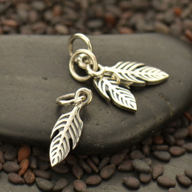 Sterling Silver Tiny Textured Feather Charm 16x4mm