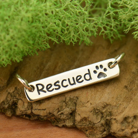 Sterling Silver Rescued Quote with Paw Print Festoon