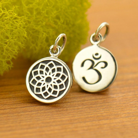 Sterling Silver Etched Crown Chakra Charm