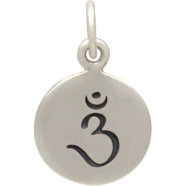 Sterling Silver Etched Third Eye Chakra Charm 15x10mm