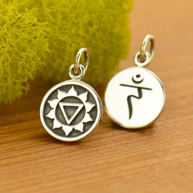 Sterling Silver Etched Solar Plexus Chakra Charm 16x10mm