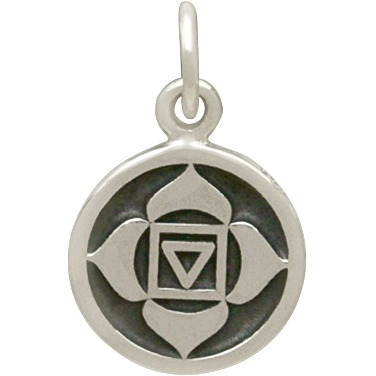 Sterling Silver Etched Root Chakra Charm 16x10mm
