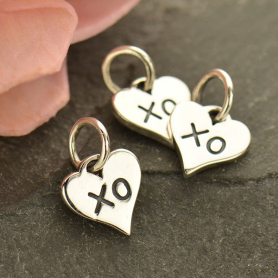 Sterling Silver Heart Charm with XO Hug and Kiss 11x7mm