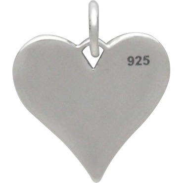 Sterling Silver Compass Heart Charm 16x13mm