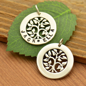 Sterling Silver Tree of Life Stamping Blank Pendant 23x20mm