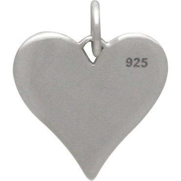 Sterling Silver Compass Symbol Heart Charm 17x13mm