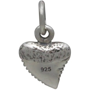 Tiny Sterling Silver Shark Tooth Charm 13x7mm