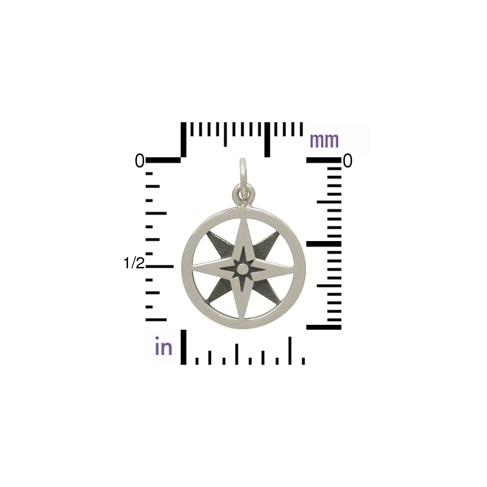 Sterling Silver North Star Compass Charm in Circle 21x15mm