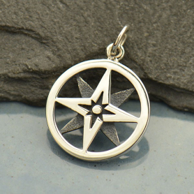 Sterling Silver North Star Compass Charm in Circle