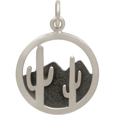 Sterling Silver Cactus and Desert Mountain Charm 22x15mm