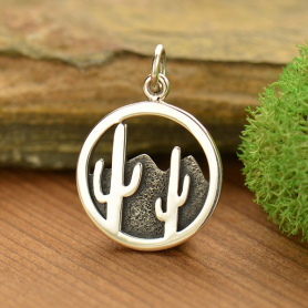 Sterling Silver Cactus and Desert Mountain Charm