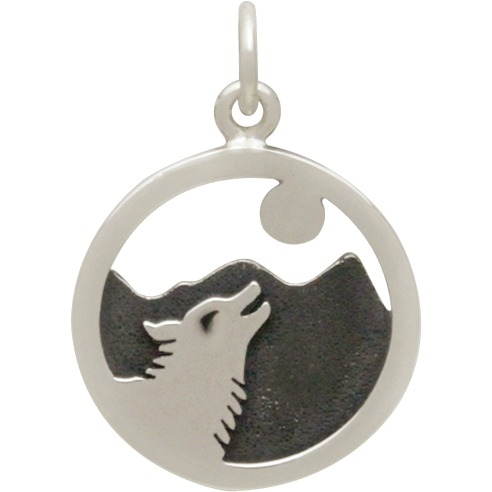 Sterling Silver Wolf Howling at Moon Charm 21x15mm