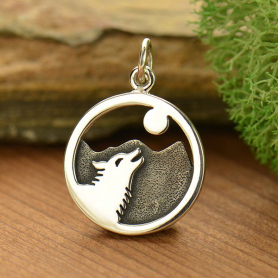 Sterling Silver Wolf Howling at Moon Charm