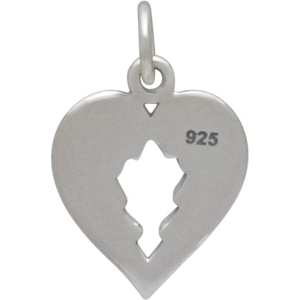 Sterling Silver Double Wing Charm - Heart Shaped