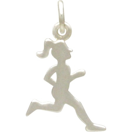 Sterling Silver Running Girl Charm - Sports Charms 20x12mm