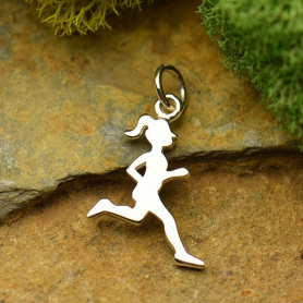 Sterling Silver Running Girl Charm - Sports Charms