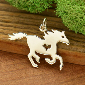 Sterling Silver Horse Charm with Heart Cutout 20x23mm