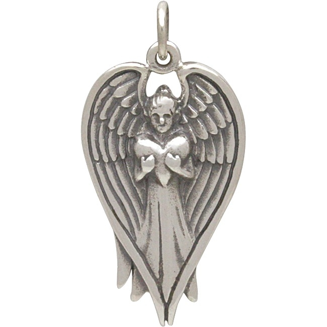 Sterling Silver Angel Pendant Holding Heart 28x14mm