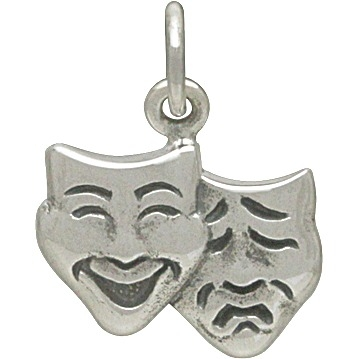Sterling Silver Theater Mask Charm Comedy and Tragedy15x12mm