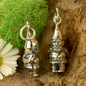 Sterling Silver Garden Gnome Charm 22x7mm