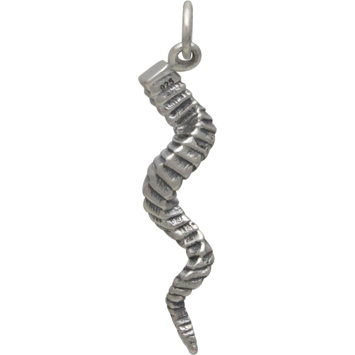 Sterling Silver Twisted Horn Charm 31x5mm