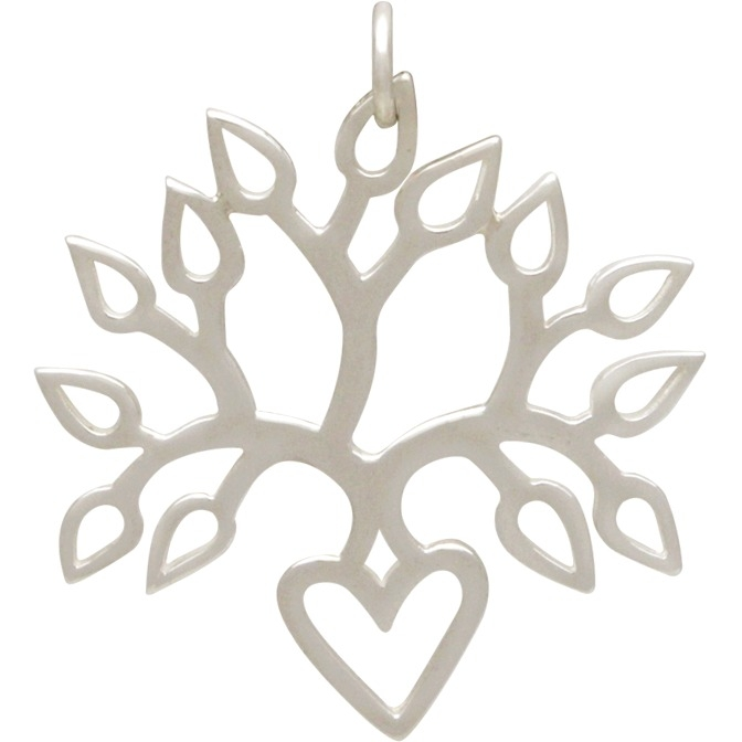 Sterling Silver Blooming Heart Tree of Life Pendant 30x26mm