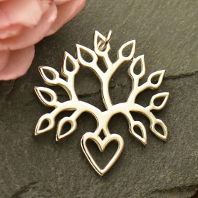 Sterling Silver Tree of Life Pendant - Blooming Heart