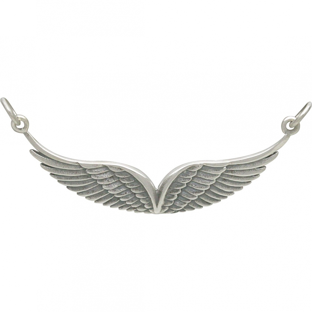 Silver Double Angel Wing Pendant - Silver Links DISCONTINUED