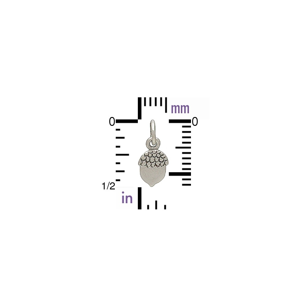 Sterling Silver Acorn Charm - Flat Plate 13x5mm DISCONTINUED
