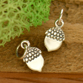 Sterling Silver Acorn Charm - Flat Plate