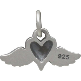 Sterling Silver Mini Heart Charm with Wings 11x14mm