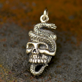 Sterling Silver Snake and Skull Pendant - Halloween Charms