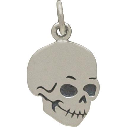 Sterling Silver Flat Skull Charm 18x10mm