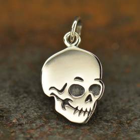 Sterling Silver Flat Skull Charm - Halloween Charms