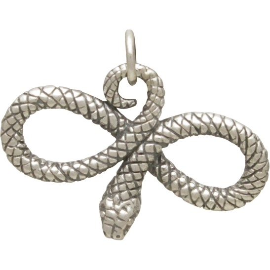 Sterling Silver Snake Charm - Infinity Snake 19x24mm