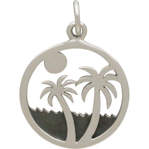 Sterling Silver Palm Tree on Island Beach Charm 21x15mm