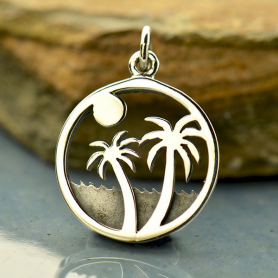 Sterling Silver Palm Tree Charm on Island - Beach Charm