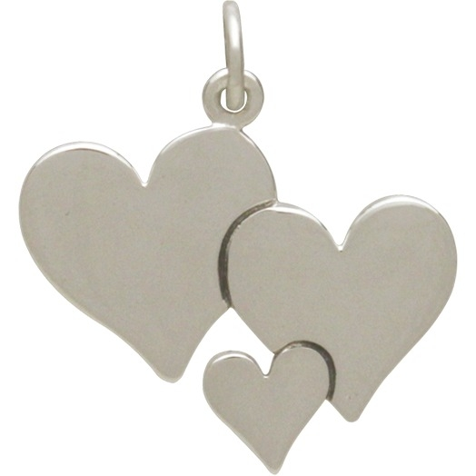 Sterling Silver Three Heart Charm - Family Charms 22x20mm
