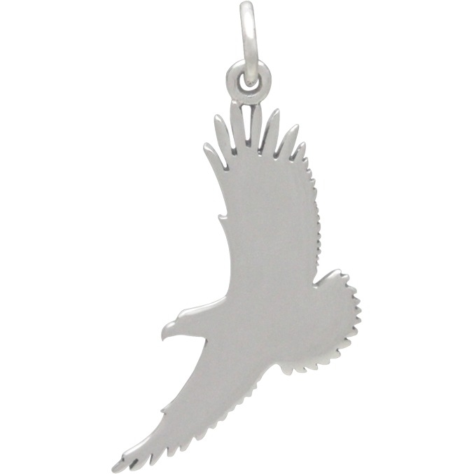 Silver Eagle Charm Message Pendant Sky is the Limit 30x24mm
