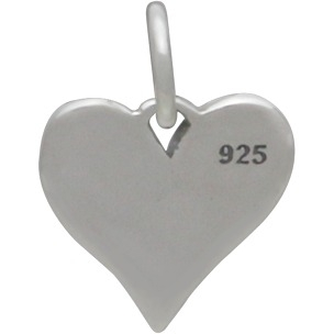 Sterling Silver Word Charm on Heart - Big Sis 9x13mm