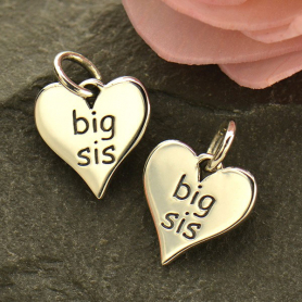 Sterling Silver Word Charm on Heart - Big Sis