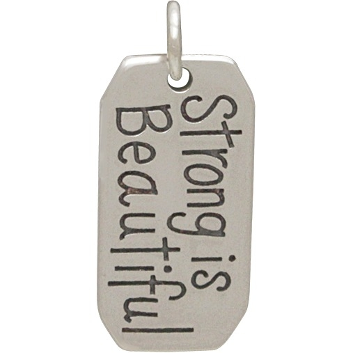 Sterling Silver Message Pendant -Strong is Beautiful 22x10mm