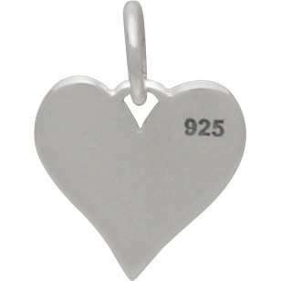 Sterling Silver Word Charm on Heart - Lil Sis 9x13mm