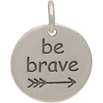 Sterling Silver Message Pendant - Be Brave 15x12mm
