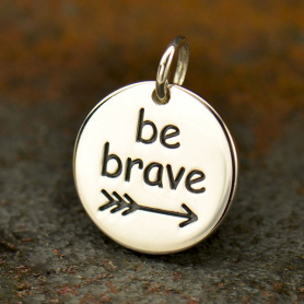 Sterling Silver Message Pendant - Be Brave - Sports Charms