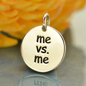 Sterling Silver Message Pendant - Me vs Me - Sports Charms