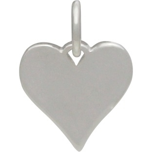 Sterling Silver Heart Charm - Stamping Blank 14x10mm