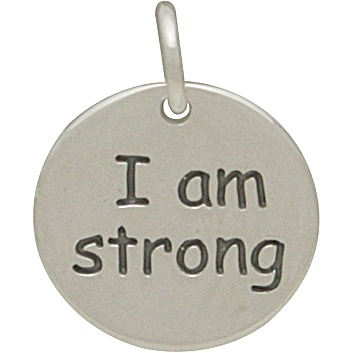 Sterling Silver Message Pendant - I am Strong 15x12mm